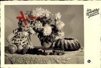 Glückwunsch Geburtstag, Kuchen, Spielzeug, Puppe, Blumen