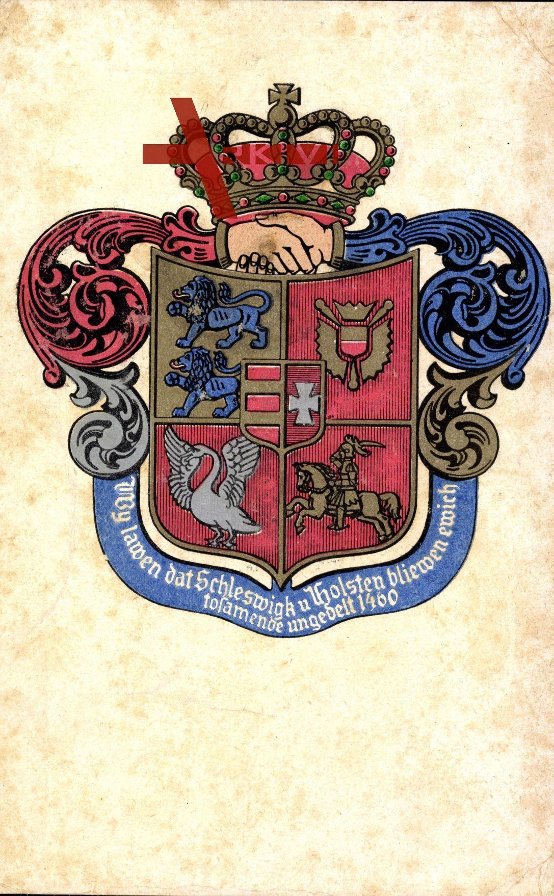 Wappen Schleswig Holstein 1460 Handeschutteln Krone Xl