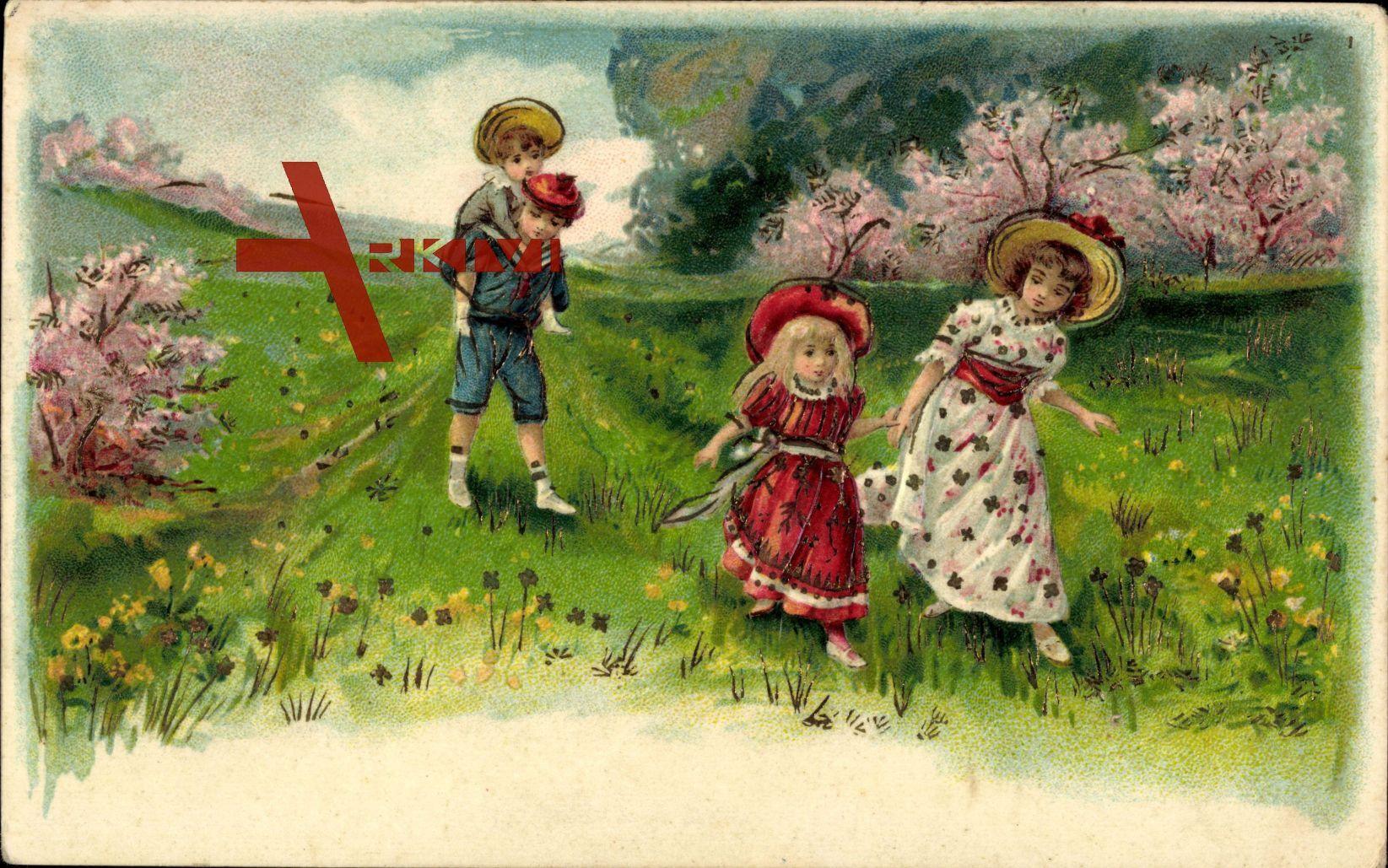 Vier Kinder auf einer Wiese, Frühling, Bunte Kleider