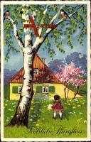 Frohe Pfingsten, Wohnhaus, Frühling, Baumblüte, Vögel