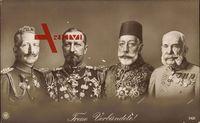 Treue Verbündete, Kaiser Wilhelm II, Franz Josef I., Ferdinand I., Mehmed V.