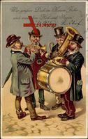 Glückwunsch Neujahr, Kapelle spielt, Trommel, Trompete, Klarinette
