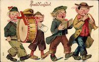 Glückwunsch Neujahr, Kinder spielen und singen, Trommel
