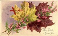 Glückwunsch Neujahr, Ahornblätter mit Blüten, Herbst