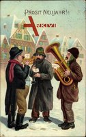 Glückwunsch Neujahr, Drei Männer, Musikinstrumente, Tuba