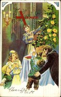 Glückwunsch Weihnachten, Tannenbaum, Familie, Spielzeug