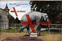 Köln am Rhein, Partie im Zoologischen Garten, Elefant auf einem Podest