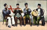 Musiciens de Tatarie, Tataren, Volkstrachten Ukraine, Musikinstrumente