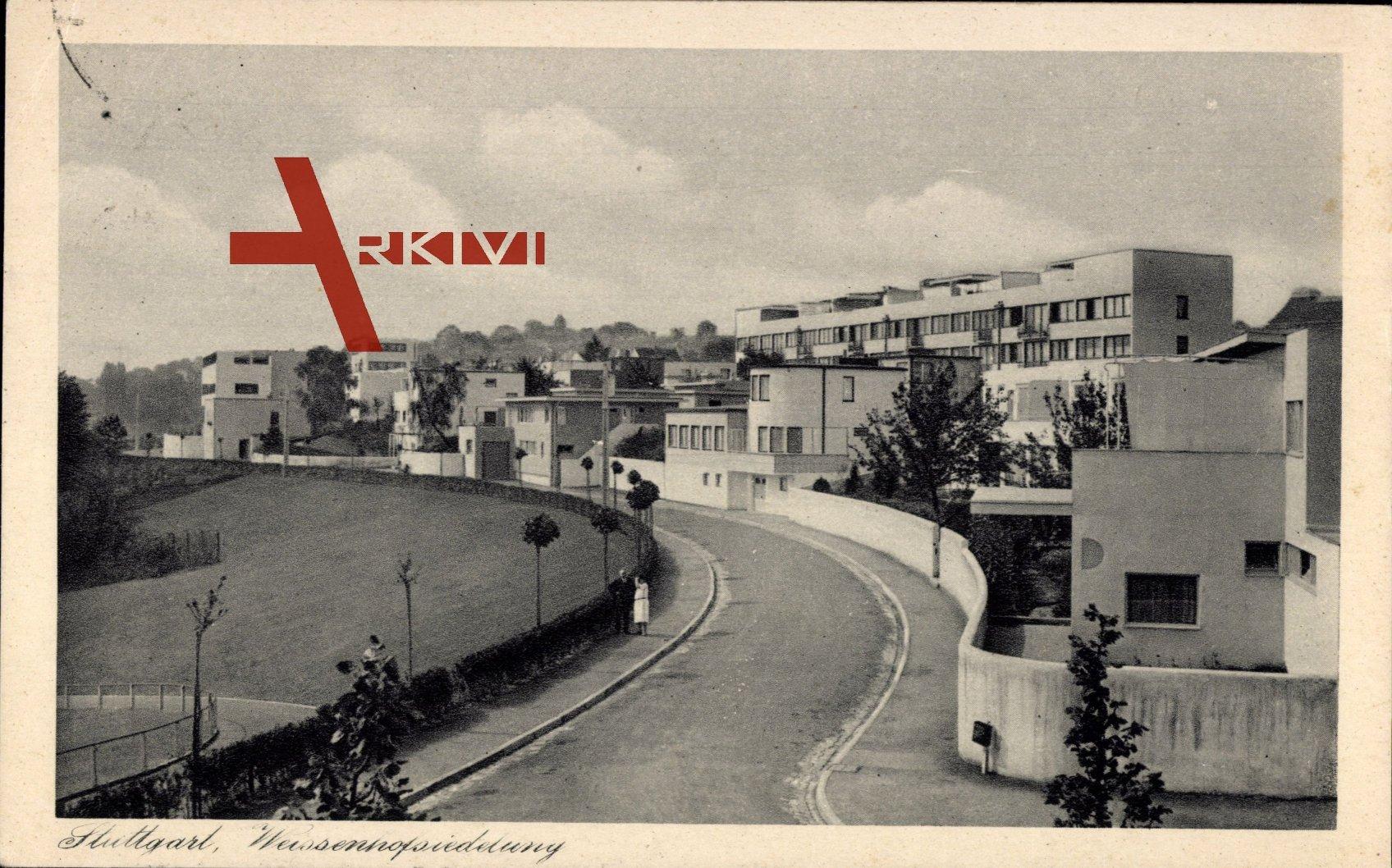 Stuttgart, Straßenpartie in der Weissenhofsiedlung, Bauhaus
