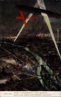 Paris, Zeppelin über der Stadt, Bombardement bei Nacht