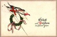 Glückwunsch Neujahr, Glück und Frieden im Neuen Jahr, Fahnen