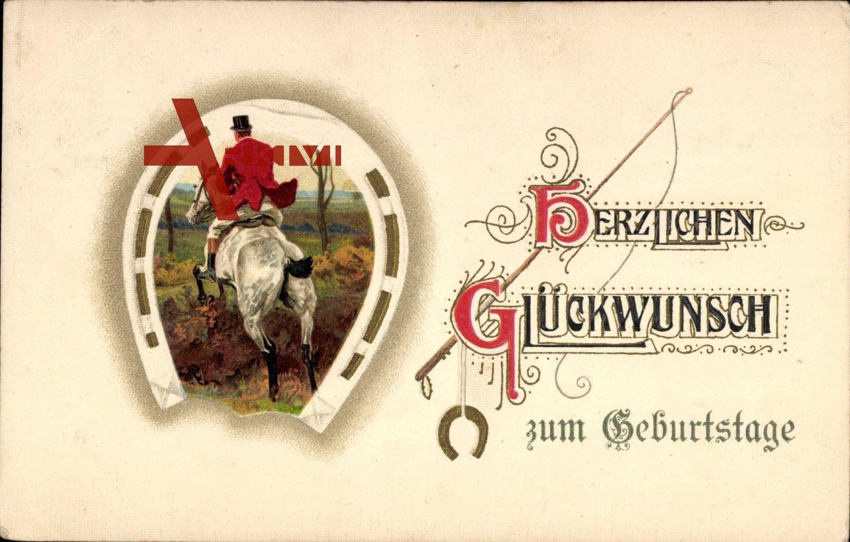 Gluckwunsch Geburtstag Hufeisen Reiter Auf Pferd Xl