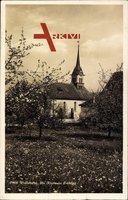 Wallishofen Kanton Zürich, Blick auf die Kirche im Frühling
