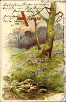 Waldpartie, Frühling, Bach, Blüten, Rasen, Sonne, Kitsch