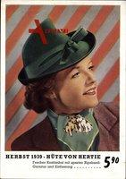Herbst 1939, Hüte von Hertie, Fescher Kostümhut, Ripsbandgarnitur