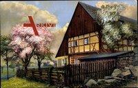 Cunnersdorf Schlesien, Der Frühling im Riesengebirge, Bauernhaus