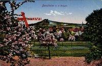 Bensheim an der Bergstraße, Kirschblüten, Kirchturm