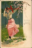 Glückwunsch Pfingsten, Frau auf einer Schaukel, Baumblüte, Frühling