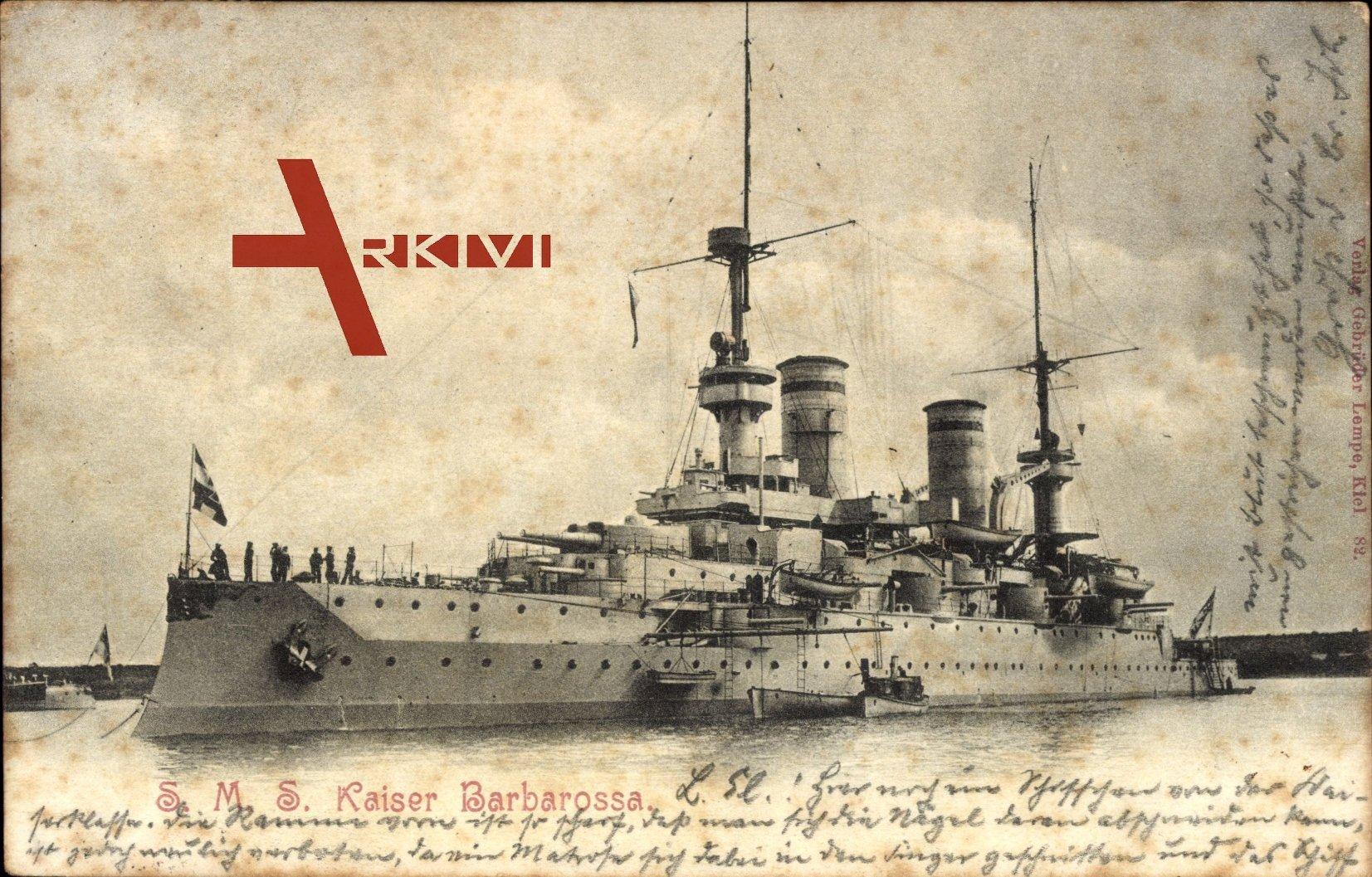S.M.S. Kaiser Barbarossa, Deutsches Kriegsschiff, Ansicht Backbord