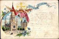 ein farbiger Gruß aus Berlin Charlottenburg, Kaiser Wilhelm Gedächtniskirche um 1898