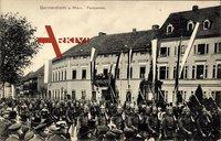 Germersheim am Rhein, Soldatenausmarsch, Fest, Zuschauer