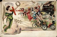 Zukunft Jubiläumskarte, Jahrhundertwende 1900, Telefon, Auto,Fahrrad