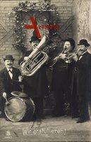 Glückwunsch, Wir gratulieren, Musiker, Quartett, Tuba, Schlagzeug