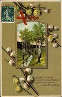 Glückwunsch Ostern, Weidenkätzchen, Frühling, Birken