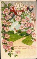 Passepartout Blumen, Rotkehlchen, Frühling, Kirche