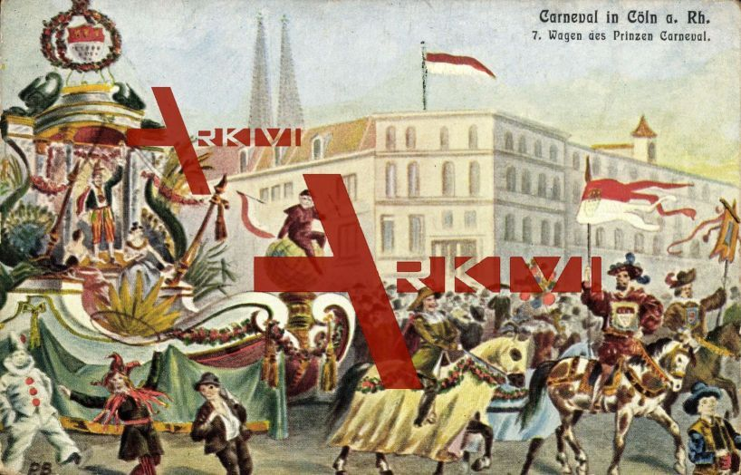 Köln, Karneval, Wagen des Prinzen, Narren, Pferde, Dom, Clown