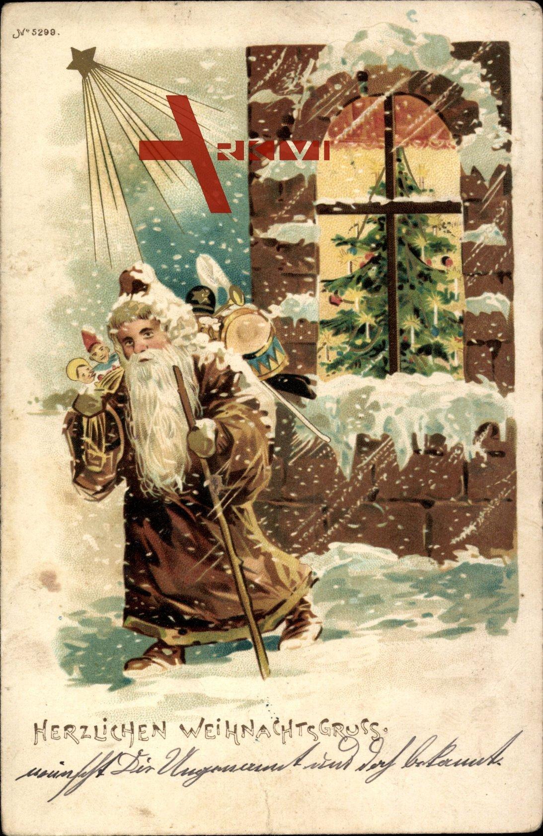 Glückwunsch Weihnachten, Weihnachtsmann, Spielzeug, Tannenbaum, Stern