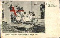Memmingen Schwaben, Frühling, Festwagen am Fischertage, 22. August 1900