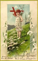 Glückwunsch Pfingsten, Engel, Glockenblumen, Wiesen, Frühling