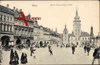 Blick auf den Kaiser Franz Josef I. Platz in Saaz (Žatec) Region Aussig zur Kaiserzeit