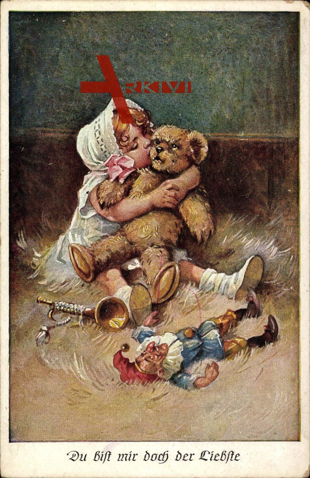 Du bist mir doch der Liebste, Mädchen mit Teddy und Spielzeug