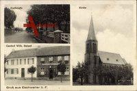 Eschweiler bei Nideggen Kreis Düren, Dorfstraße, Kirche, Gasthaus Wilh. Ruland