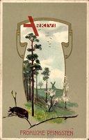 Jugendstil  Glückwunsch Pfingsten, Maikäfer, Windmühle, Frühling