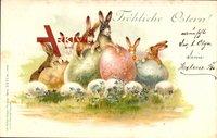Glückwunsch Ostern, Osterhasen, Ostereier, Frühling