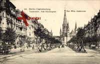 Berlin Charlottenburg um 1912, Partie an der Tauenzienstraße, Ecke Nürnbergerstr. mit Gedächtniskirche