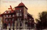 Oberhausen, Blick auf das Eckgebäude, Städtische Sparkasse, Achtung Schild