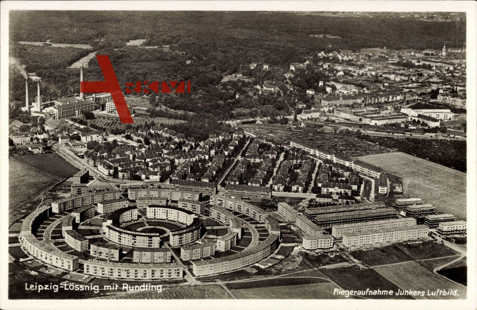 Leipzig Lössnig, Fliegeraufnahme der Wohnsiedlung Rundling, Bauhaus