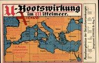 Landkarten U-Bootswirkung im Mittelmeer, Krieg, Frankreich, Tunis, Ägypten