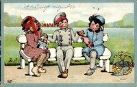 Soldat mit zwei Frauen auf einer Sitzbank, Soldatenliebe, Strickgarn