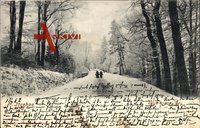 Itzehoe, Breitenburger Weg durch den Wald im Schnee, Frauen mit Körben