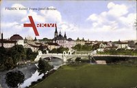 Blick auf die Kaiser Franz Josef Brücke in Plzeň Pilsen mit Feld und Kirchturm um 1914