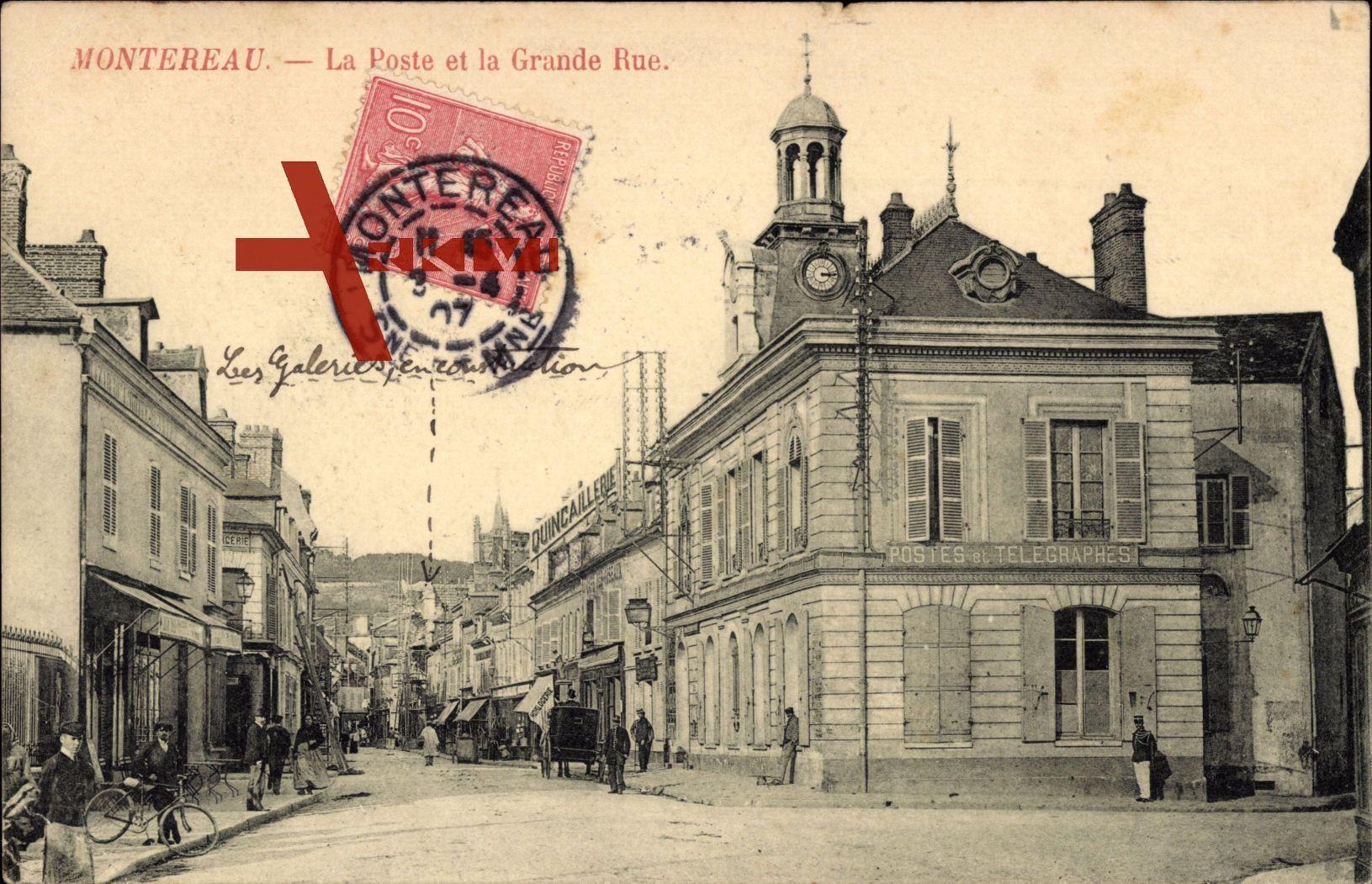 Montereau Seine et Marne, La Poste et la Grande Rue