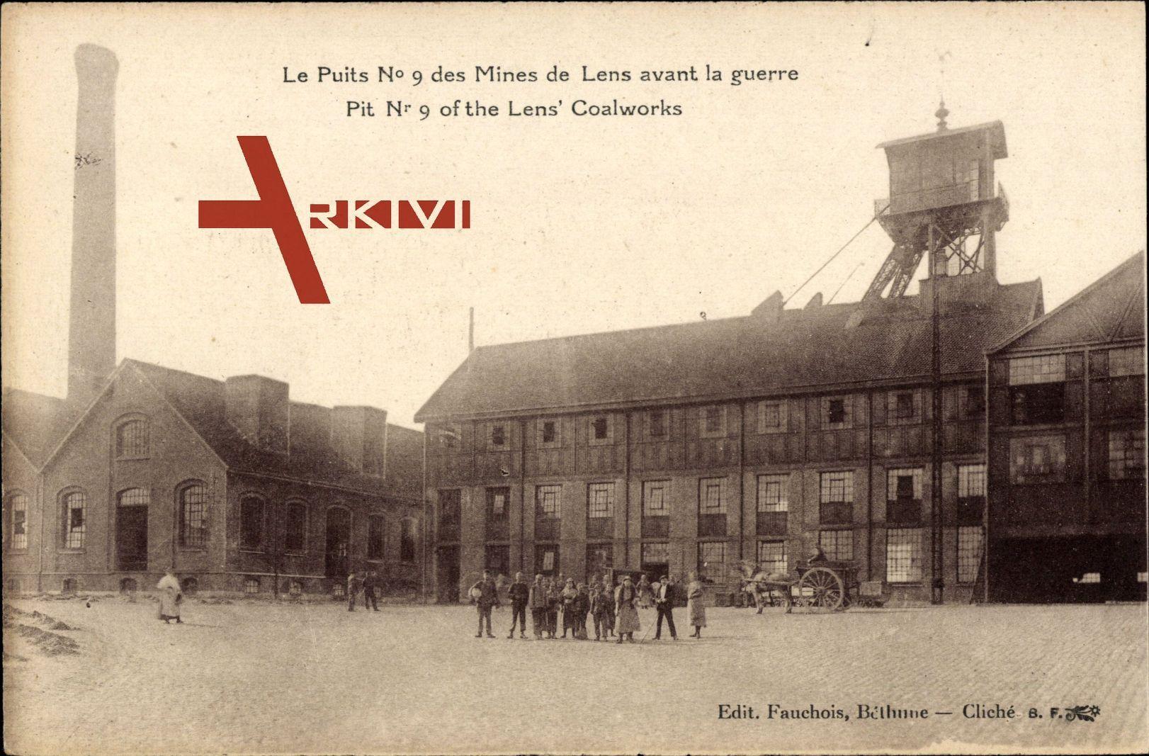 Lens in Pas-de-Calais, Minen-Schacht Nr. 9 vor dem Krieg - Le Puits No 9 des Mines avant la guerre, Coalworks