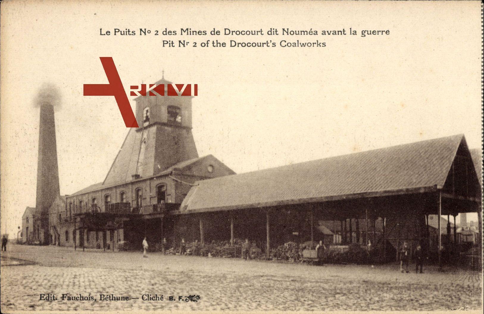 Drocourt in  Pas de Calais, Schacht Nr. 2 der Bergwerke vor dem Krieg, Kohlewerke - Le Puits No 2 des Mines avant la guerre, Coalworks