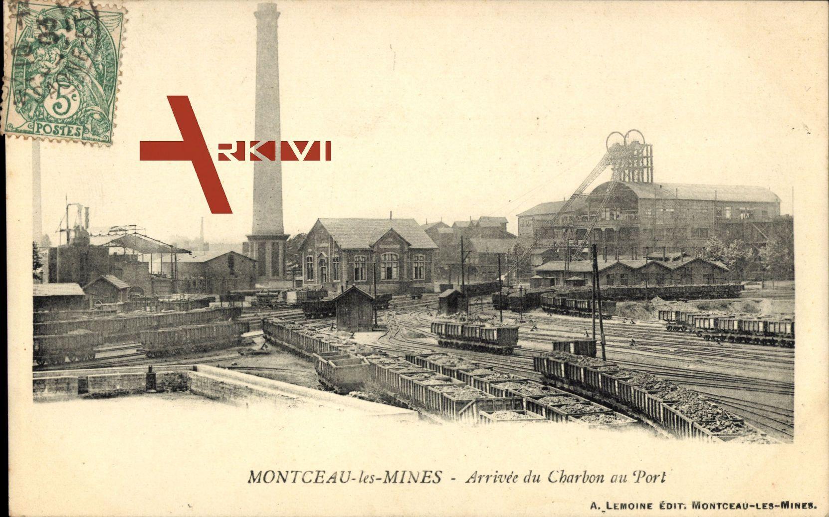 Montceau les Mines in Saône et Loire, Ankunft der Kohle im Hafen - Arrivée du Charbon au Port - um 1903