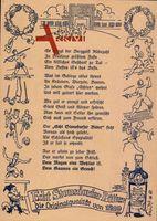 Gedicht Echt Stonsdorfer Bitter, Reklame, Turnen, Fechten, Fußball